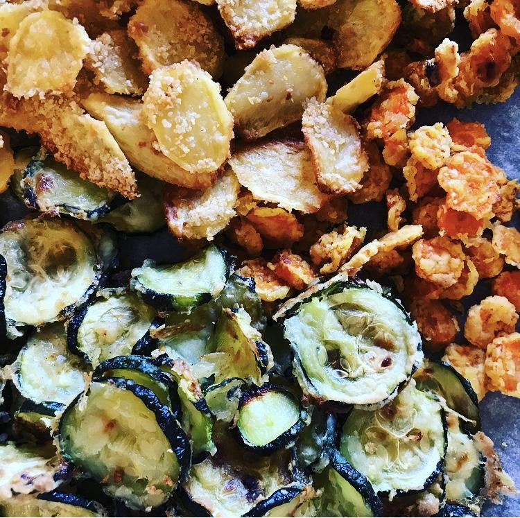 Chips di Zucchine, Patate e Zucca al forno